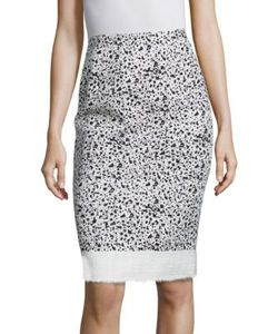 Carolina Herrera | Spatter Print Wool Pencil Skirt