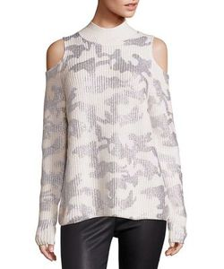 Zoe Jordan | Hawking Wool Cashmere Camo Cold-Shoulder Sweater