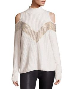 Zoe Jordan | Hawking Wool Cashmere Chevron Cold-Shoulder Sweater