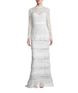 Self-Portrait | Primrose Tiered Lace Gown