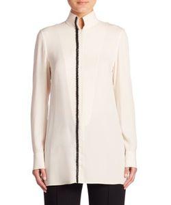 Akris | Long-Sleeve Silk Crepe Tunic Blouse