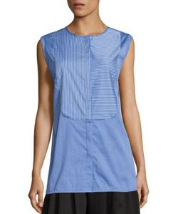 Tome | Cotton Striped Bib Shirt