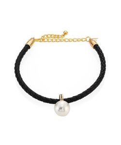 Kenneth Jay Lane | Braided Leather Faux Pearl Choker