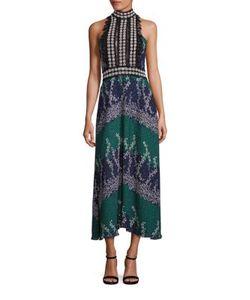 Yigal Azrouel | Long Trellis-Print Halter Dress
