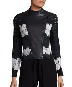 Yigal Azrouel | Two-Tone Lace Leather Moto Jacket