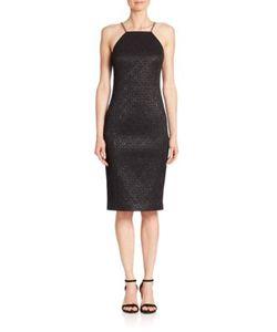 Michael Kors Collection | Chain-Strap Metallic Jacquard Sheath Dress