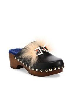 Fendi | Faces Leather Fur Clogs