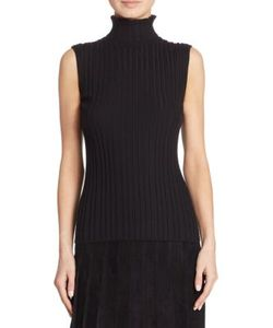 Akris | Sleeveless Ribbed Cashmere Silk Turtleneck