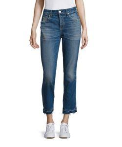 Amo | Babe High-Rise Raw Hem Straight-Leg Jeans