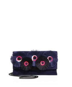 Loeffler Randall | Floral-Embroidered Suede Tab Clutch