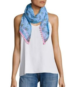 Poupette St Barth | Chacha Pompom Trimmed Floral Scarf