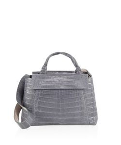 Nancy Gonzalez | Medium Double Tie-Knot Crocodile Flap Tote