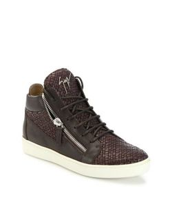 Giuseppe Zanotti Design | Woven Leather Mid-Top Sneakers