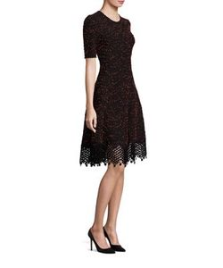 Lela Rose | Lace-Hem Knit Dress