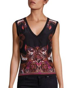 Versace Collection | Printed Silk Cotton V-Neck Shell