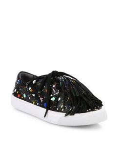 Loeffler Randall | Logan Tassel Splatter Paint Leather Sneakers