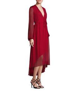 Prabal Gurung | Long-Sleeve Silk Chiffon Flounce Dress