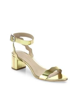 Loeffler Randall | Emi Scallop Metallic Leather Block-Heel Sandals