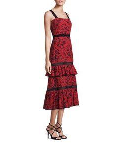 Prabal Gurung   Tiered Ruffle Printed Eyelet Cotton Dress