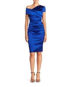 Talbot Runhof | Asymmetric Satin Dress