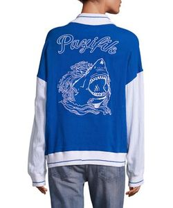 Koza | Colorblock Shark Graphic Varsity Jacket