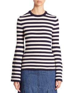 Michael Kors Collection | Striped Cashmere Bell-Sleeve Sweater