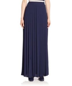 Michael Kors Collection | Slashed Pleated Silk Maxi Skirt