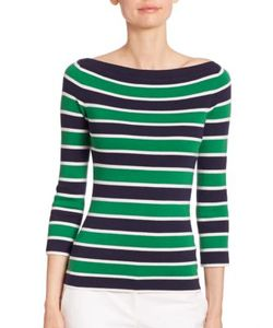 Michael Kors Collection | Striped Cashmere Boatneck Sweater