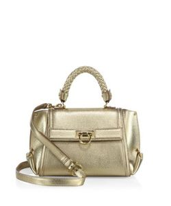Salvatore Ferragamo | Mini Sofia Metallic Leather Satchel