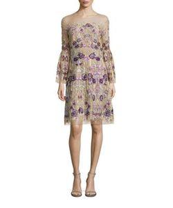 Marchesa Notte | Floral Bell Sleeve Dress