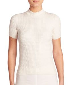 Akris | Stretch Wool Silk Cable Knit Pullover
