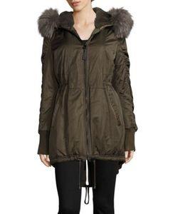 Derek Lam 10 Crosby   Fox Fur-Trim Satin Hi-Lo Parka