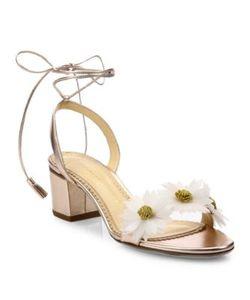Charlotte Olympia | Tara Flower Metallic Leather Block-Heel Sandals
