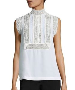 Yigal Azrouel | Sleeveless Lace Silk Georgette Top
