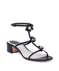Rene Caovilla | Embellished Leather T-Strap Block-Heel Sandals