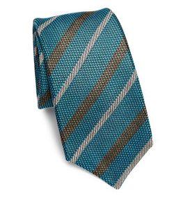 Kiton | Textured Stripe Silk Tie