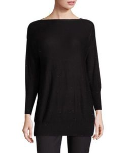 Lela Rose | Sequin-Embellished Boatneck Sweater