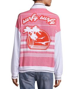 Koza | Two-Toned Tropical Graphic Varsity Jacket