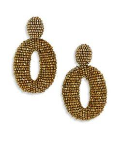 Oscar de la Renta | Classic Oscar Beaded O Clip-On Earrings