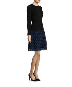 Lela Rose | Long-Sleeve Lace Wool Knit Dress