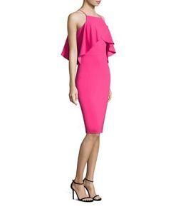 Badgley Mischka | Ruffled Sheath Dress