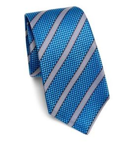 Kiton | Bright Textured Stripe Silk Tie