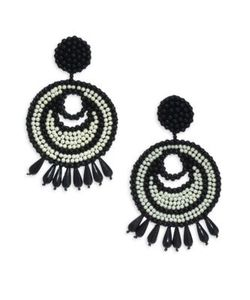 Kenneth Jay Lane | Seed Bead Gypsy Hoop Clip-On Earrings