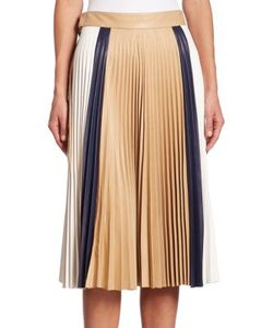 Victoria Beckham   Pleated Leather Skirt