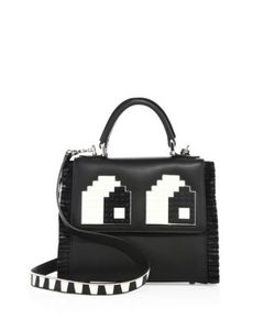 Les Petits Joueurs | Mini Alex Eyes Fringed Leather Top-Handle Satchel