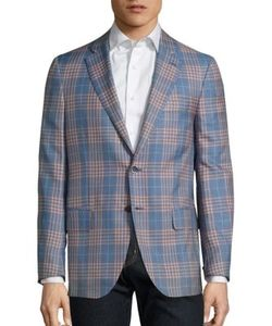 Isaia | Regular-Fit Plaid Wool Silk Blazer