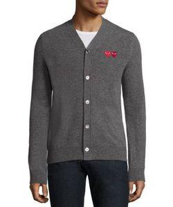 Comme Des Garçons Play   Dual Signature Logo Patch Wool Cardigan