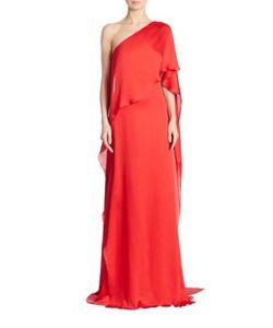 Ralph Lauren Collection   Constance One-Shoulder Mulberry Silk Gown