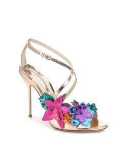 Sophia Webster | Hula Floral-Embellished Metallic Leather Crisscross Sandals