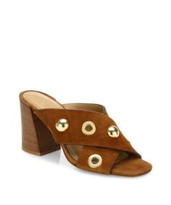 Michael Kors Collection | Brianna Studded Suede Crisscross Mules